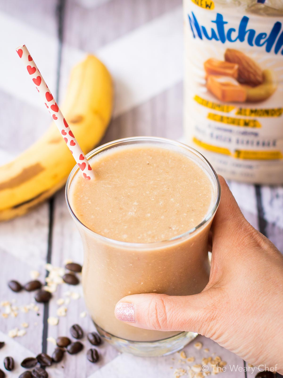 Grab a banana nut smoothie for a wholesome, tasty breakfast or snack!