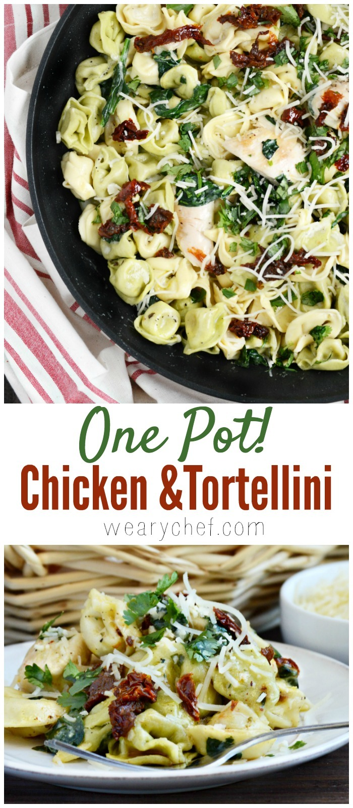 Whip up a pot of this easy Chicken Tortellini Dinner, and make everyone happy (even the picky eaters)!
