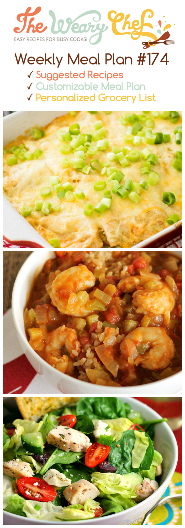 This week's menu of easy dinner recipes features Chile Relleno Casserole, Mexican Chicken Soup, Healthy Shrimp Etouffee, and lots more!