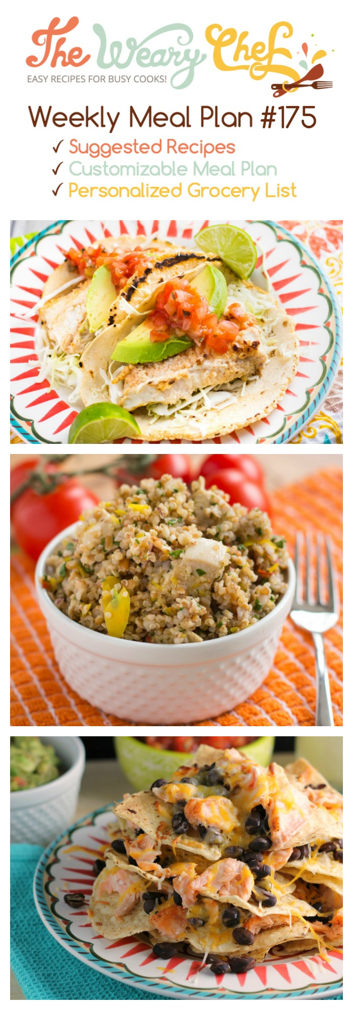 This week's meal plan features fish tacos, summer salad with whole grains, red beans and rice, and lots more!