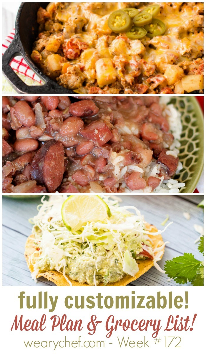 This week's menu features new recipes like Pork Skillet Hash and Guacamole Tostadas. Plus, don't miss favorites like Slow Cooker Red Beans and Rice and Pizza Pasta Casserole!