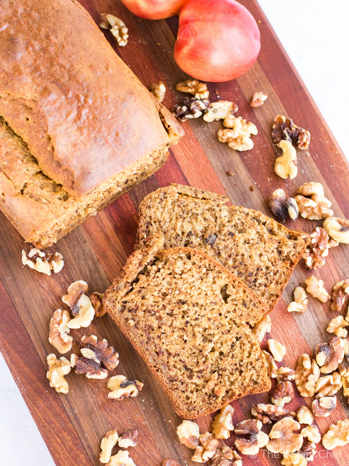 Peach bread with walnuts is a perfect breakfast treat!