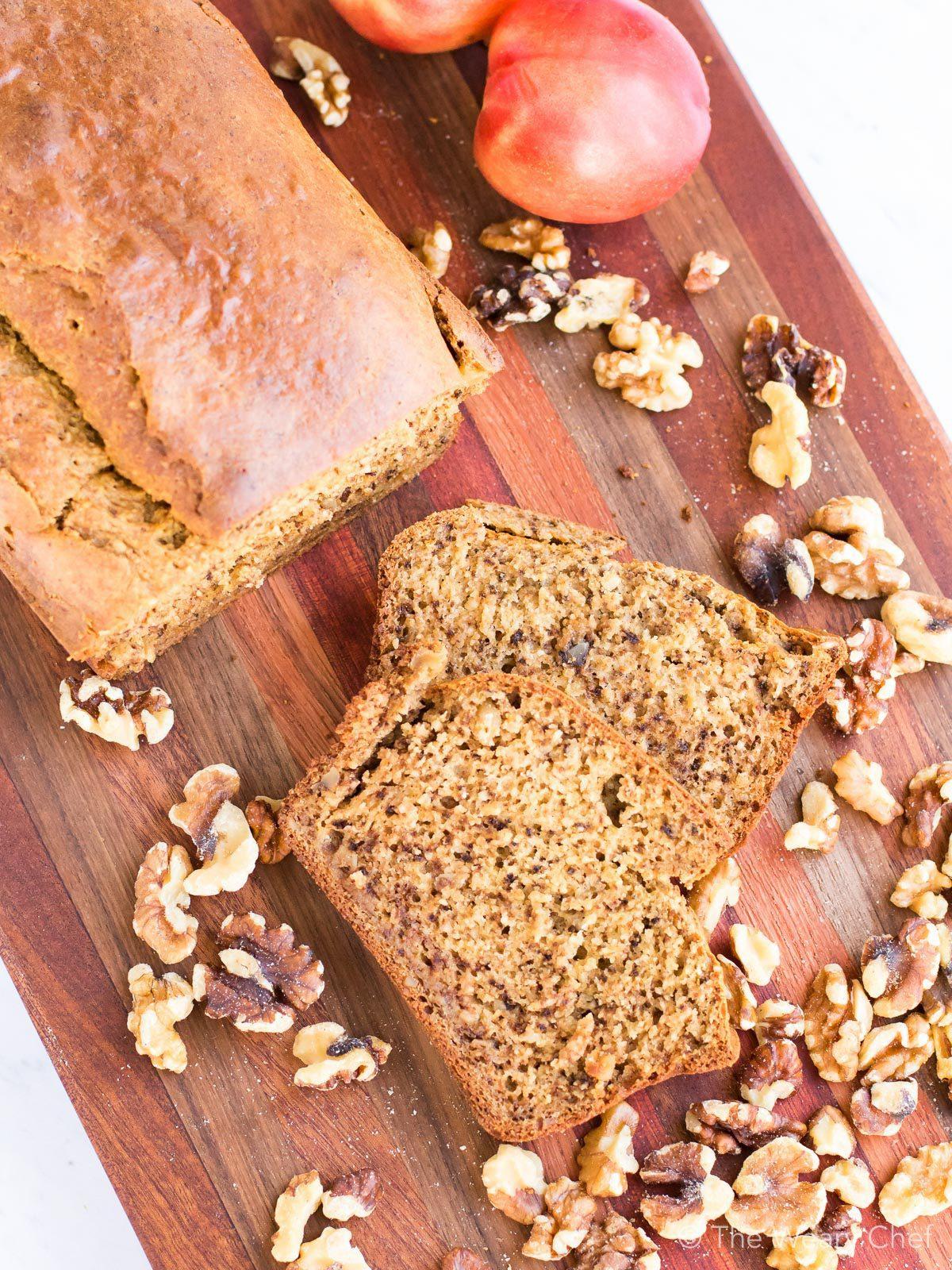 Peach bread with walnuts is a perfect breakfast treat!