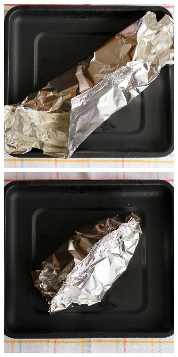 How to wrap your yogurt chicken in foil to bake.