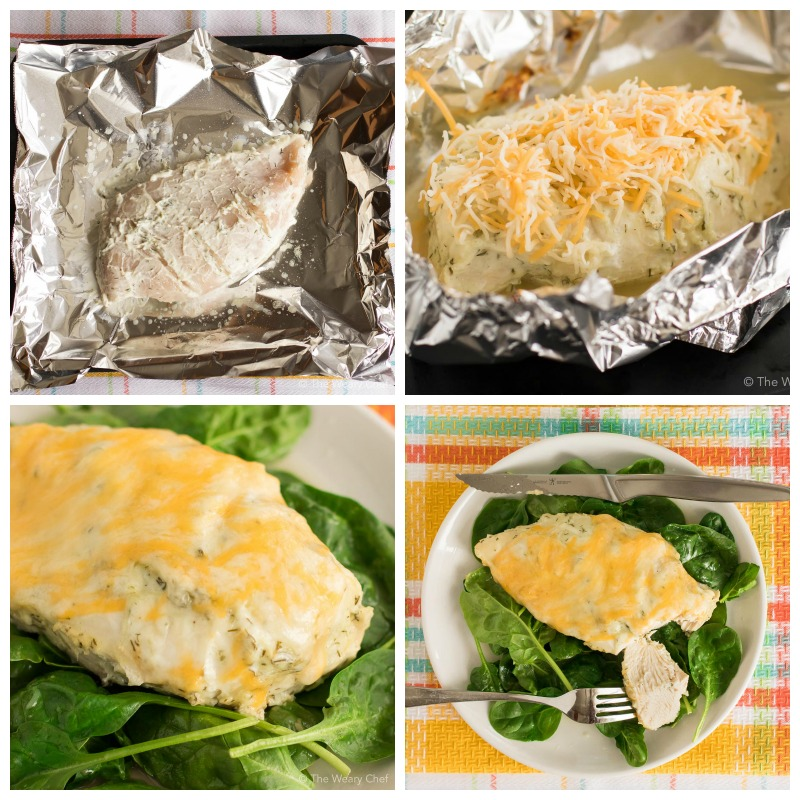 Marinated Greek yogurt chicken is baked in foil and then topped with melted cheese. Perfect served with its juices over spinach!