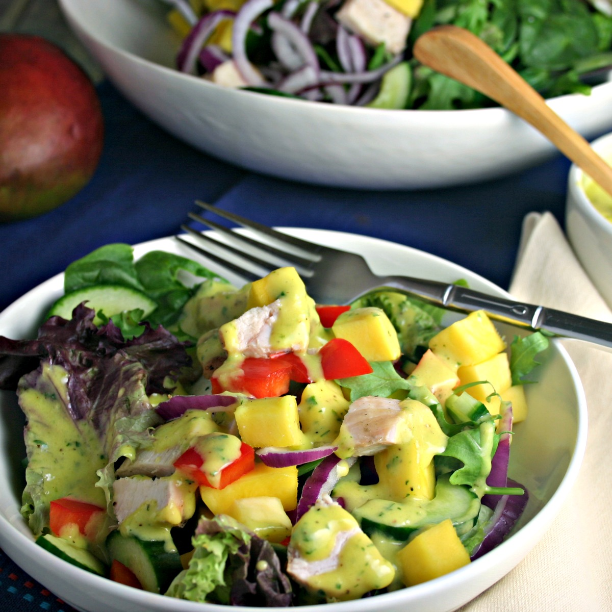 Mango Vinaigrette makes this chopped chicken dinner salad extra special!