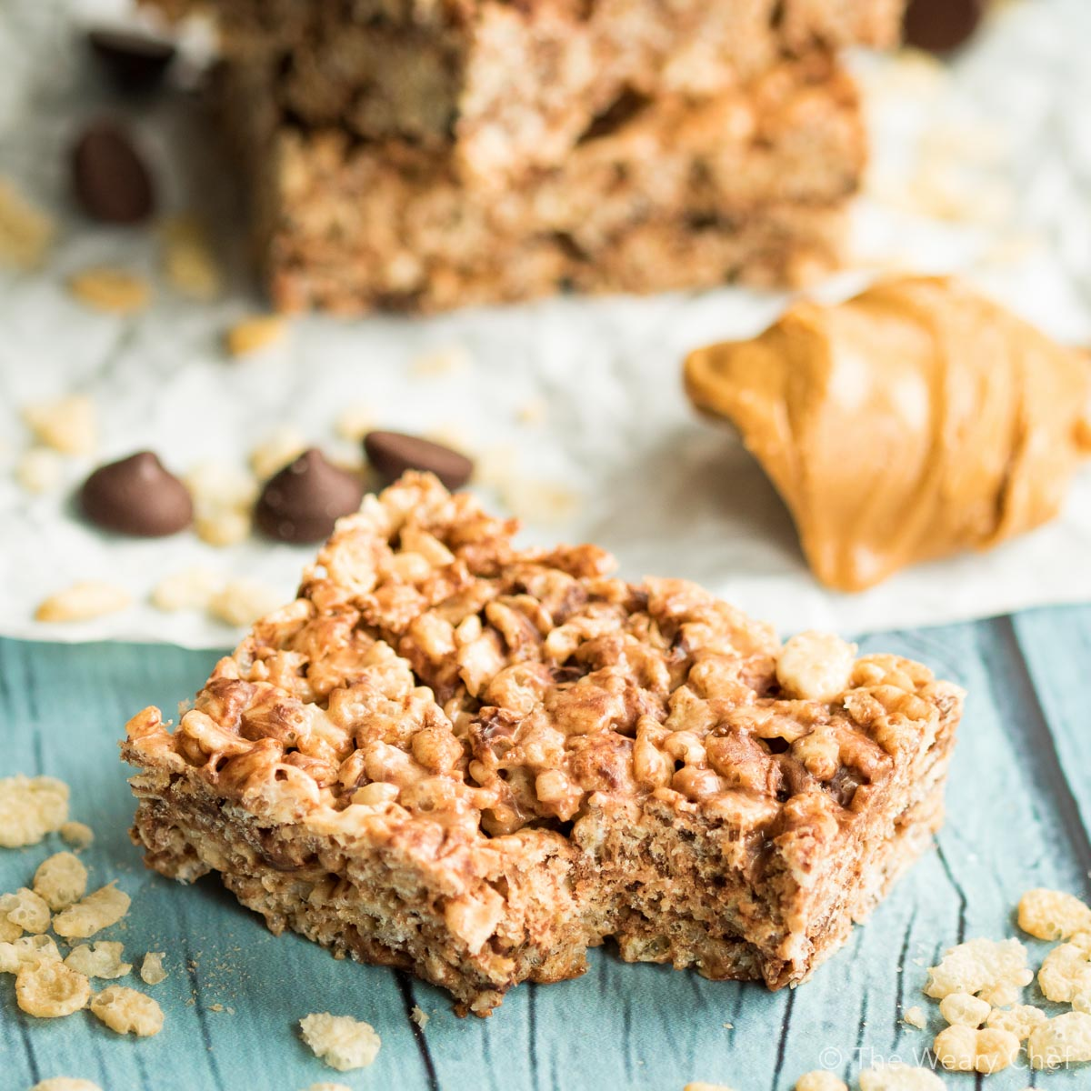 Chocolate Peanut Butter Rice Krispie Treats - The Weary Chef
