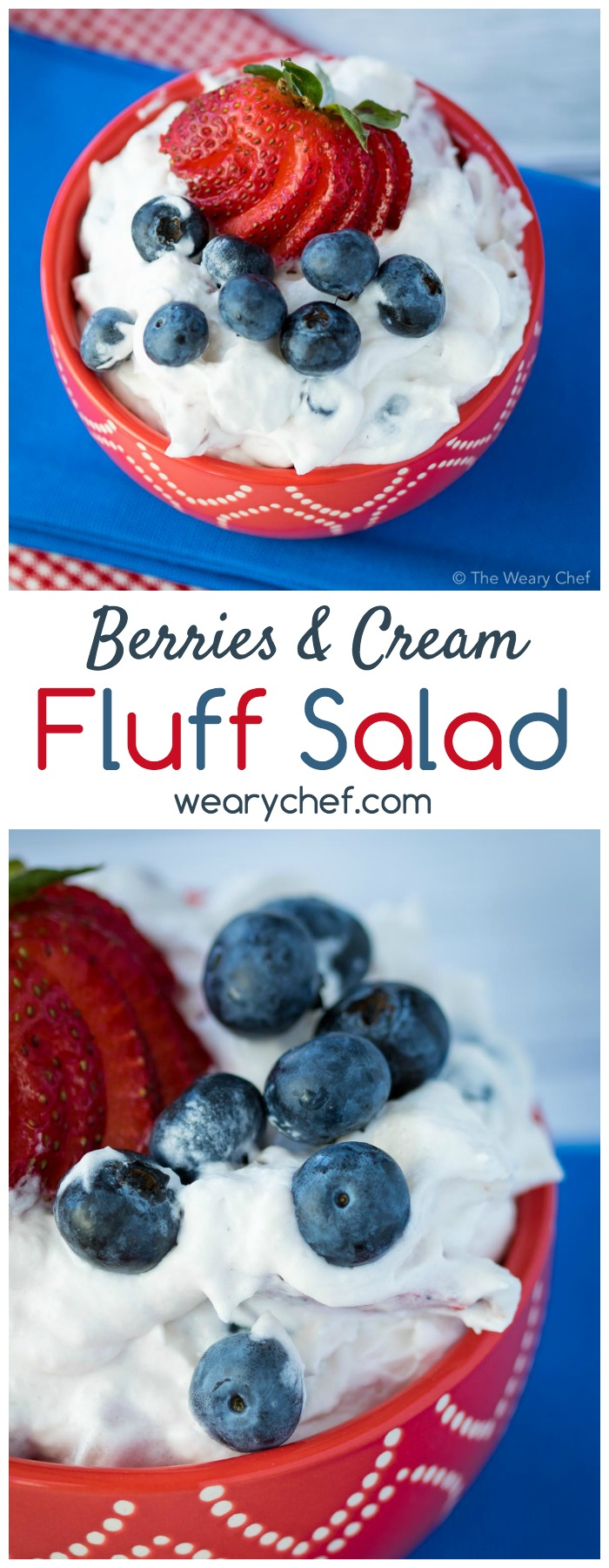 This delicious and easy fluff salad recipe with strawberries and blueberries is a perfect summer dessert!