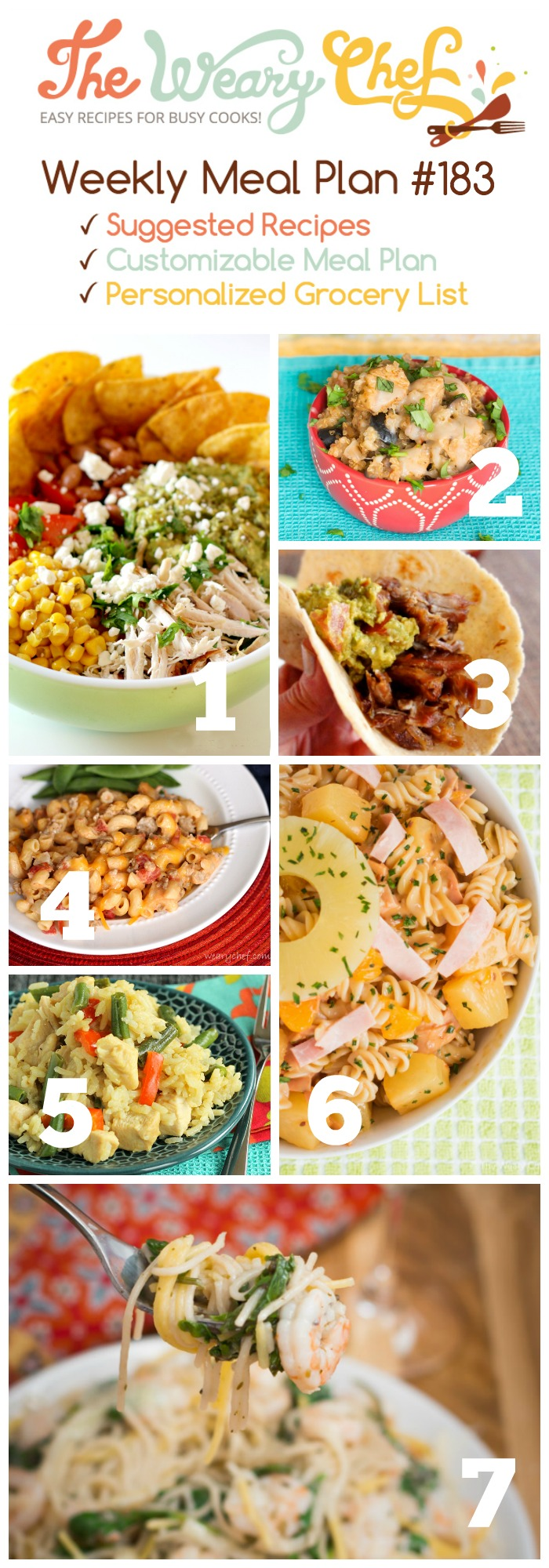 This easy dinner menu features Thai Curry Skillet, Taco Salad, Hawaiian Pasta Salad, and lots more!