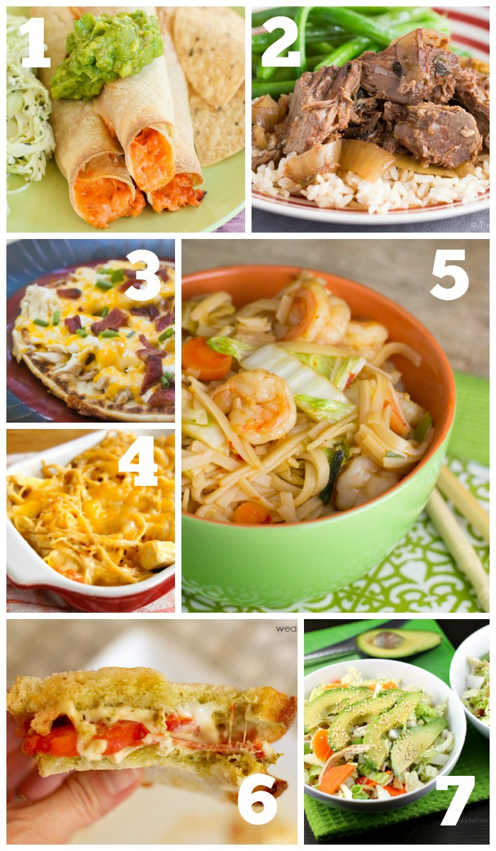 This week's dinner menu features Baked Taquitos, Cheesy Spaghetti, Rice Noodles with Shrimp, and lots more!