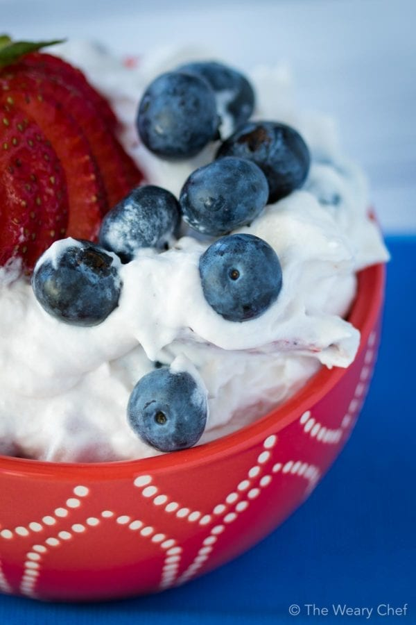 Dive into this fluff salad with fresh berries! You'll love this easy summer dessert.