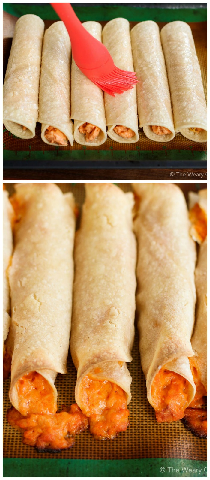 Brush your rolled taquitos with oil, and bake. Easy peasy!