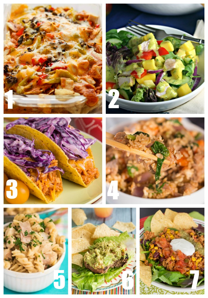 This week's menu of dinner recipes features Mango Chicken Salad, Beef and Black Bean Burgers, BBQ Chicken Tacos, and lots more!