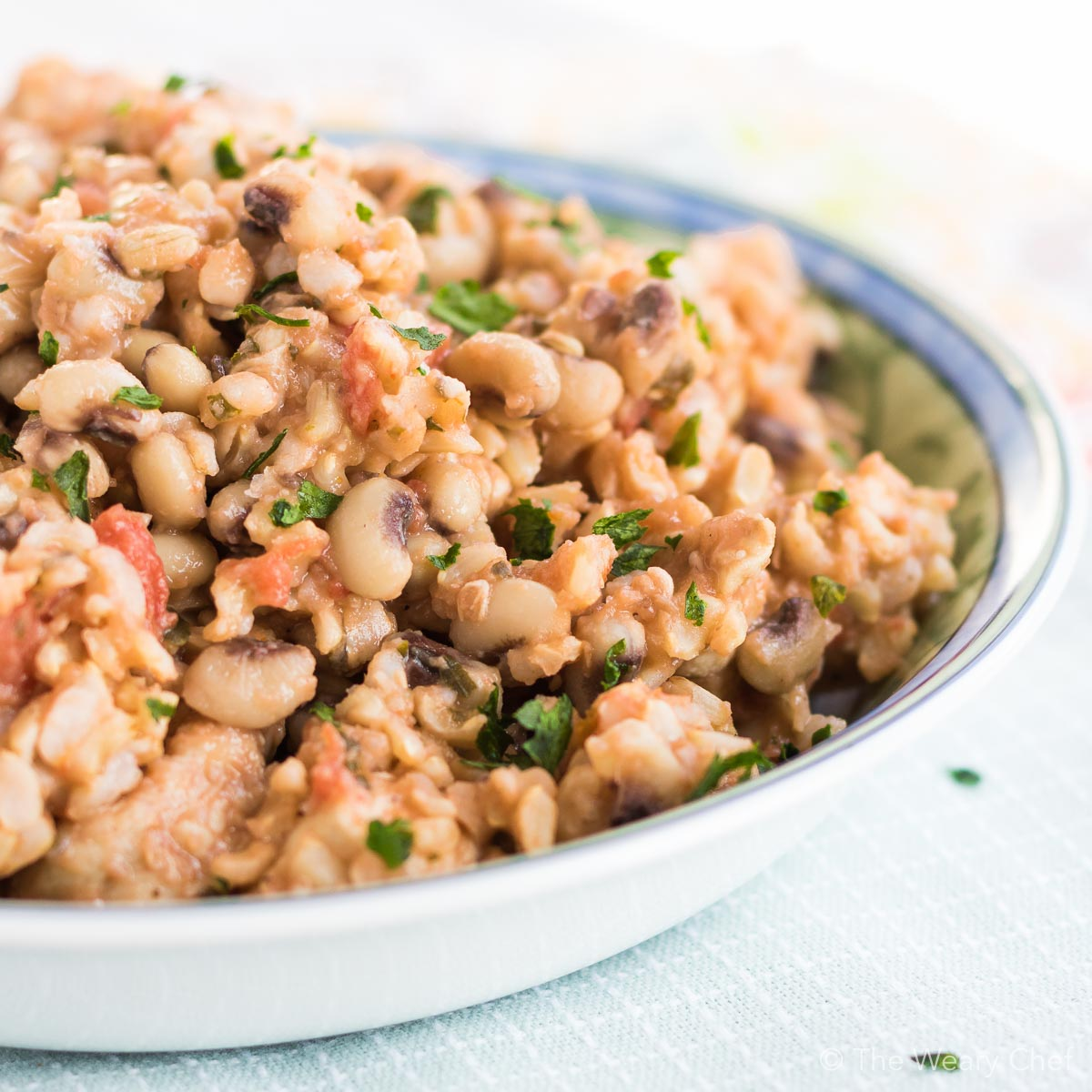 This one-pot recipe with chicken, black eyed peas, and rice is a hearty meal on the healthy side. You'll love the flavor, ease, and wholesomeness of this dish!