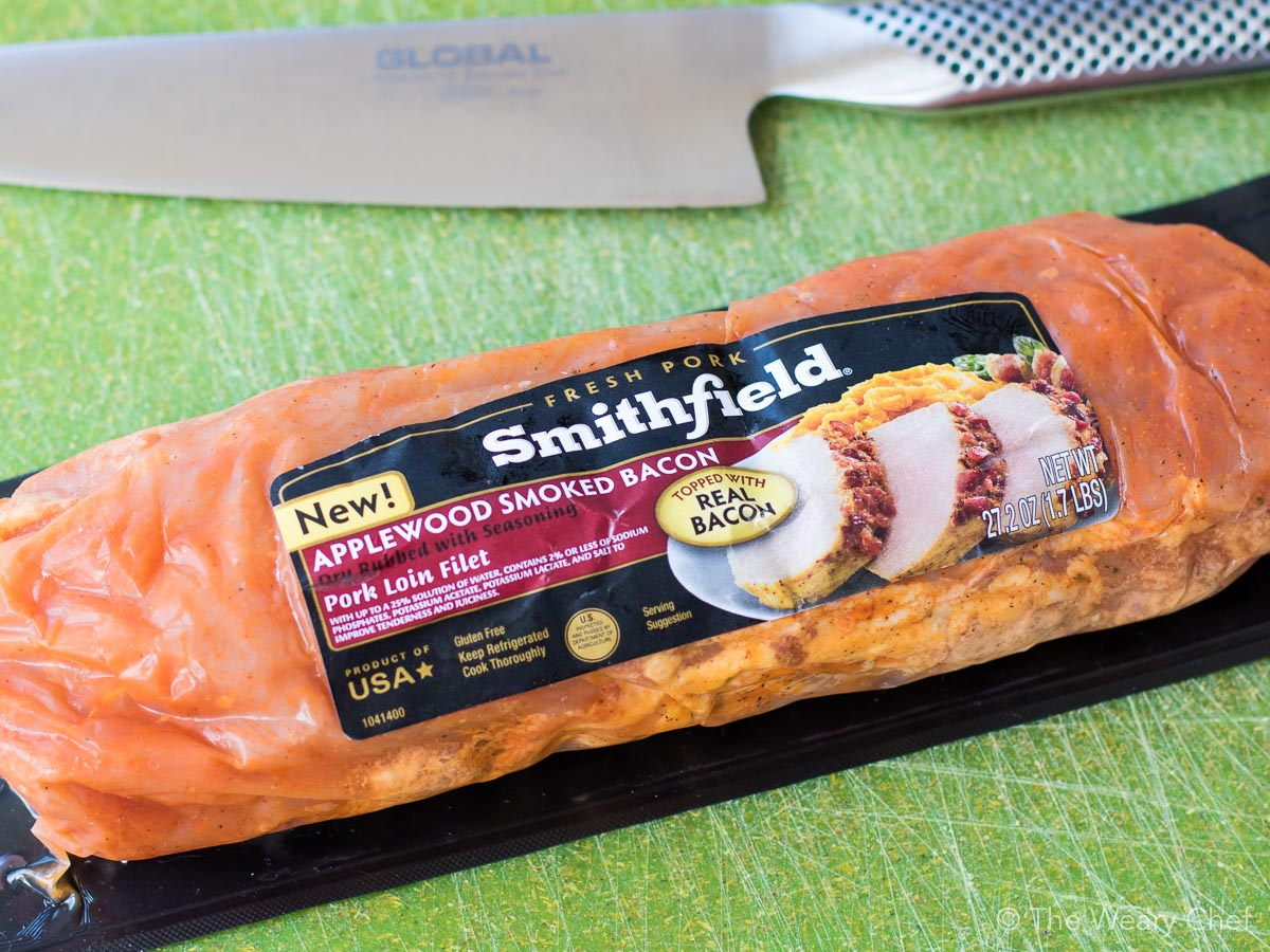 Smithfield has a marinated fresh pork loin topped with real applewood smoked bacon!