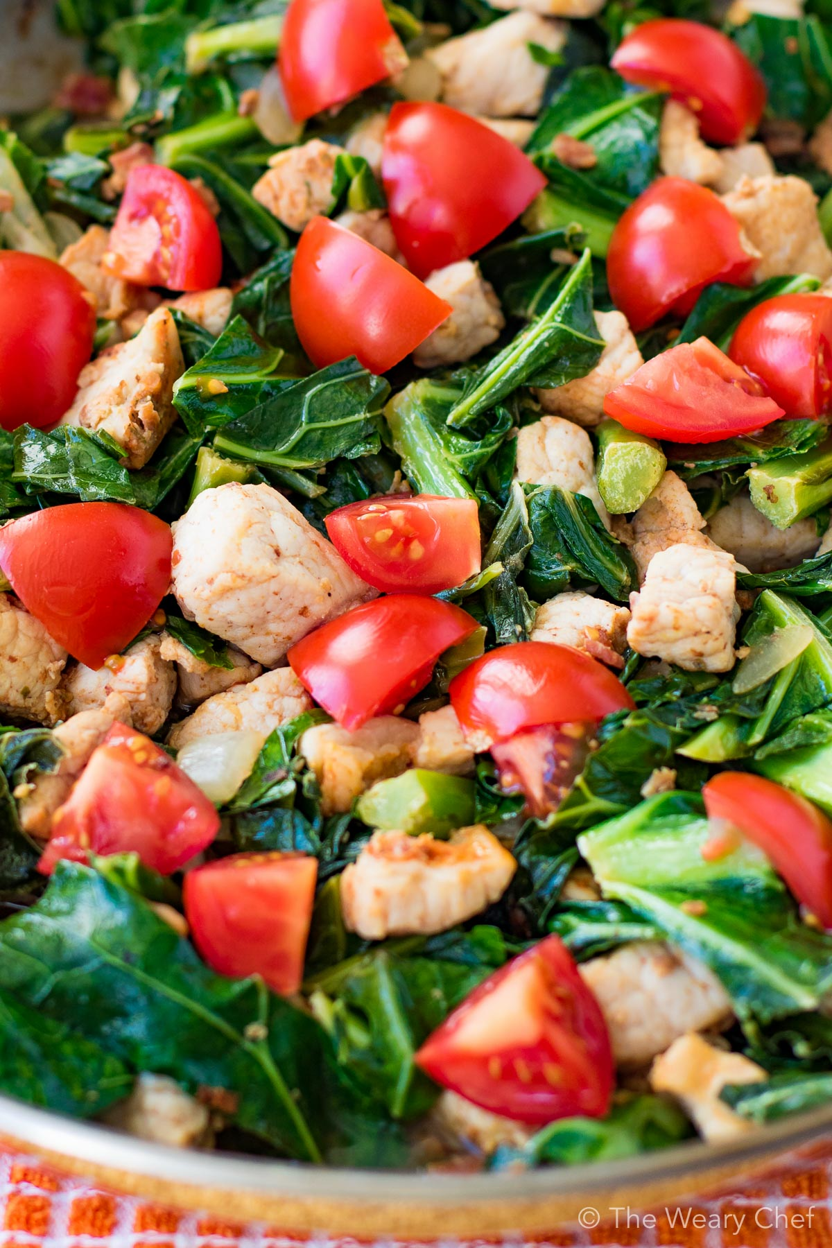 Dive right in! You'll love this healthy, quick and delicious pork and greens stir fry for dinner!