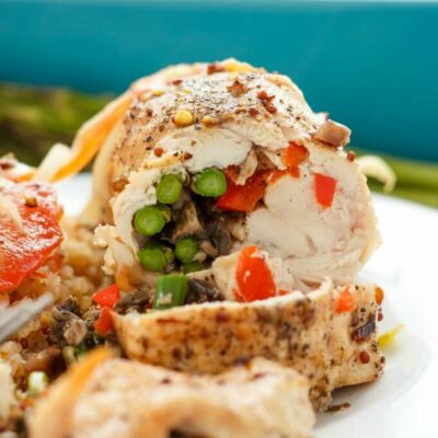 Asparagus Stuffed Chicken with Mushrooms