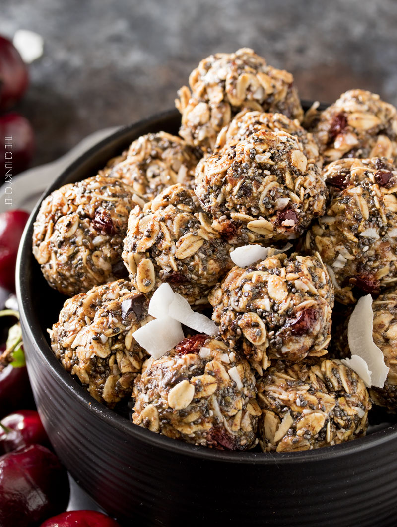 Cherry Chocolate Almond Energy Balls are an amazing afternoon pick-me-up or quick breakfast!