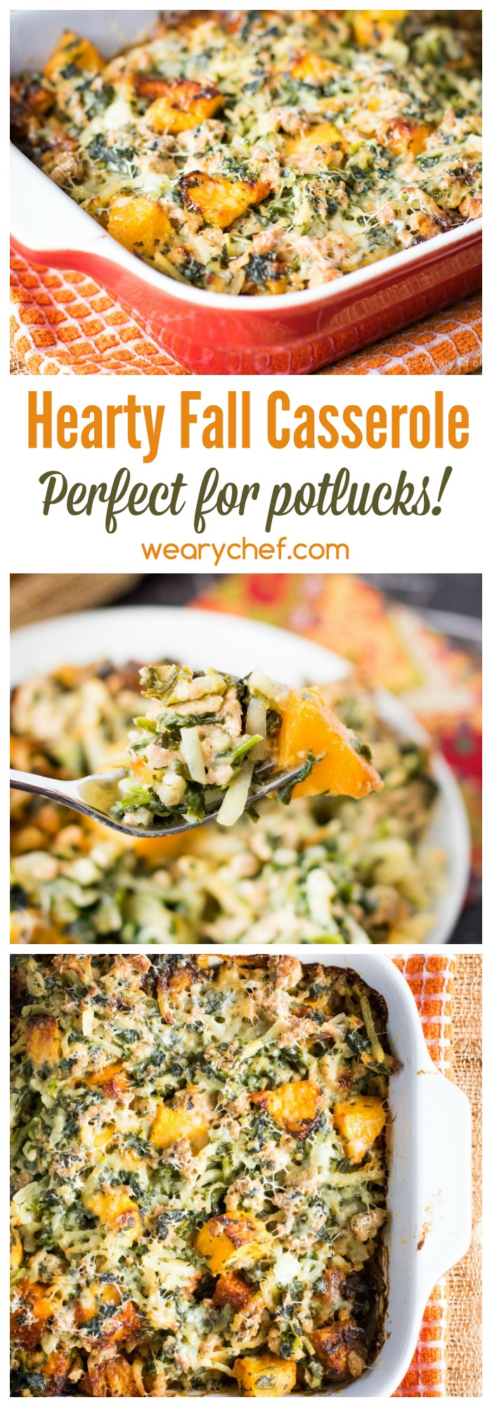 This hearty fall casserole recipe is perfect for potlucks! It's loaded with turkey, hashbrown potatoes and butternut squash for a satisfying, healthy dinner.