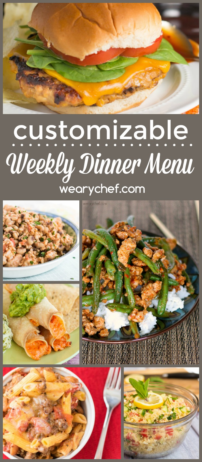 Get help with your weekly meal planning with this easy dinner menu! Customize the recipes and grocery list to make your life easier!