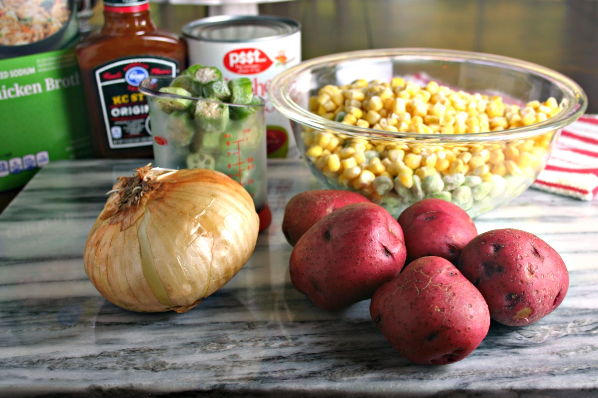 Easy Brunswick Stew just takes a few common ingredients and your slow cooker!