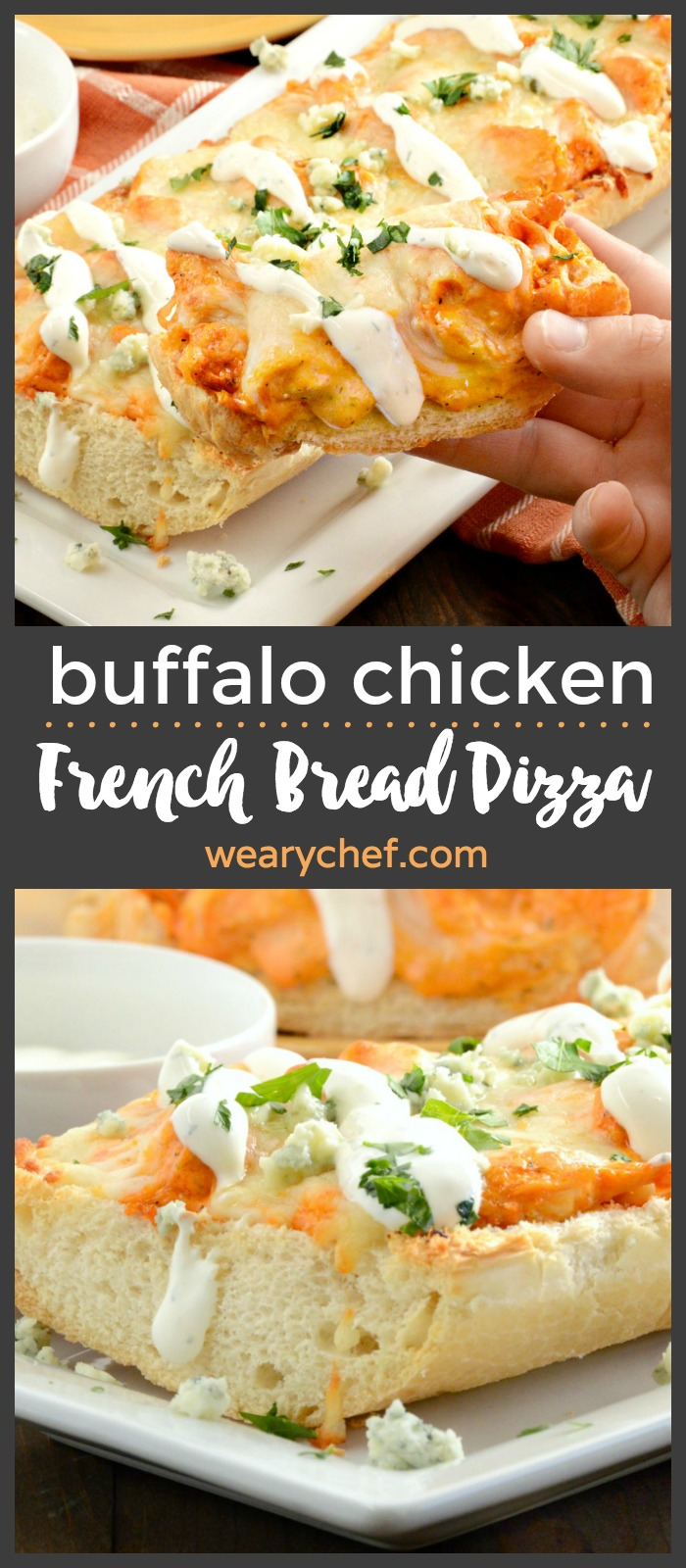 This scrumptious french bread pizza topped with buffalo chicken, ranch, and melted cheese is an easy dinner recipe you'll want to make again and again!