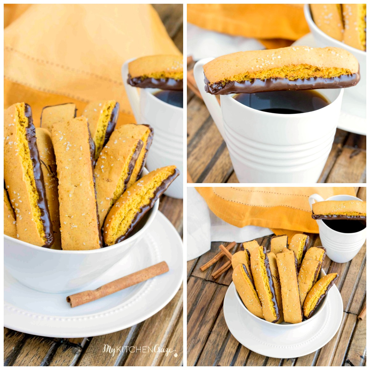 This homemade pumpkin biscotti dipped in dark chocolate is a perfect companion to your cup of coffee or tea.