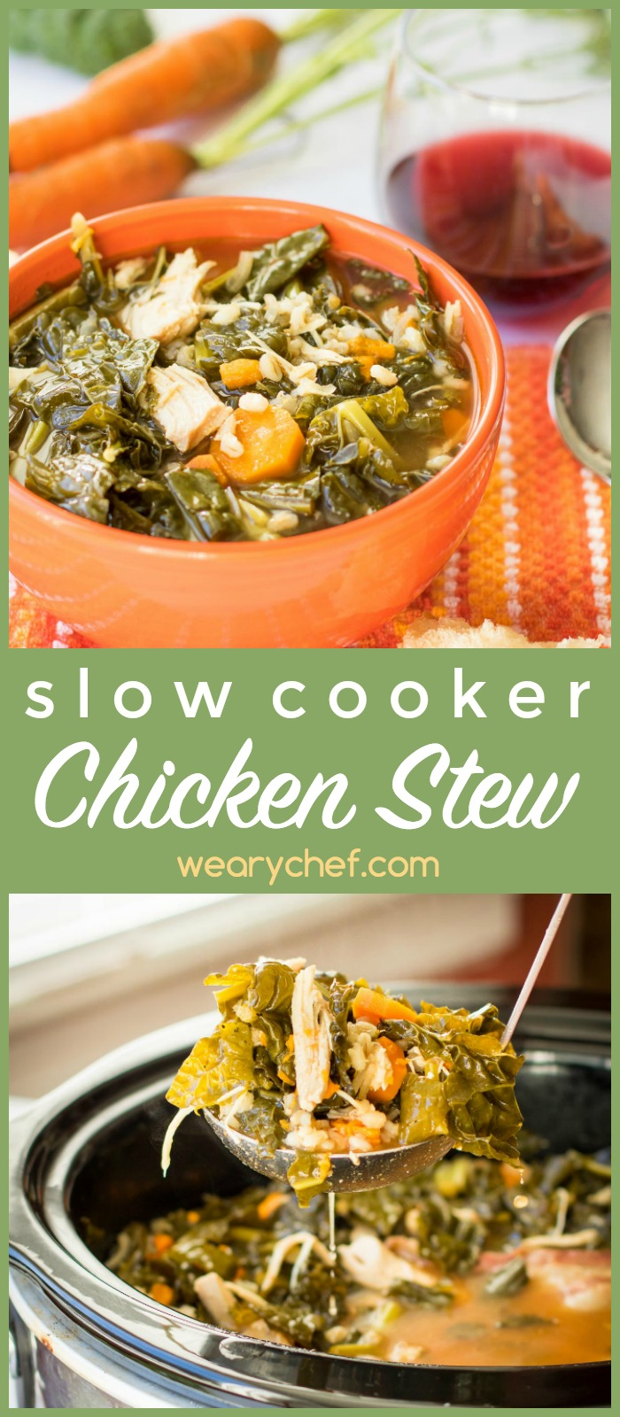 This crock pot chicken stew is loaded with lean chicken and healthy veggies like kale sweet potatoes! It's a perfect slow cooker dinner recipe for cool days.
