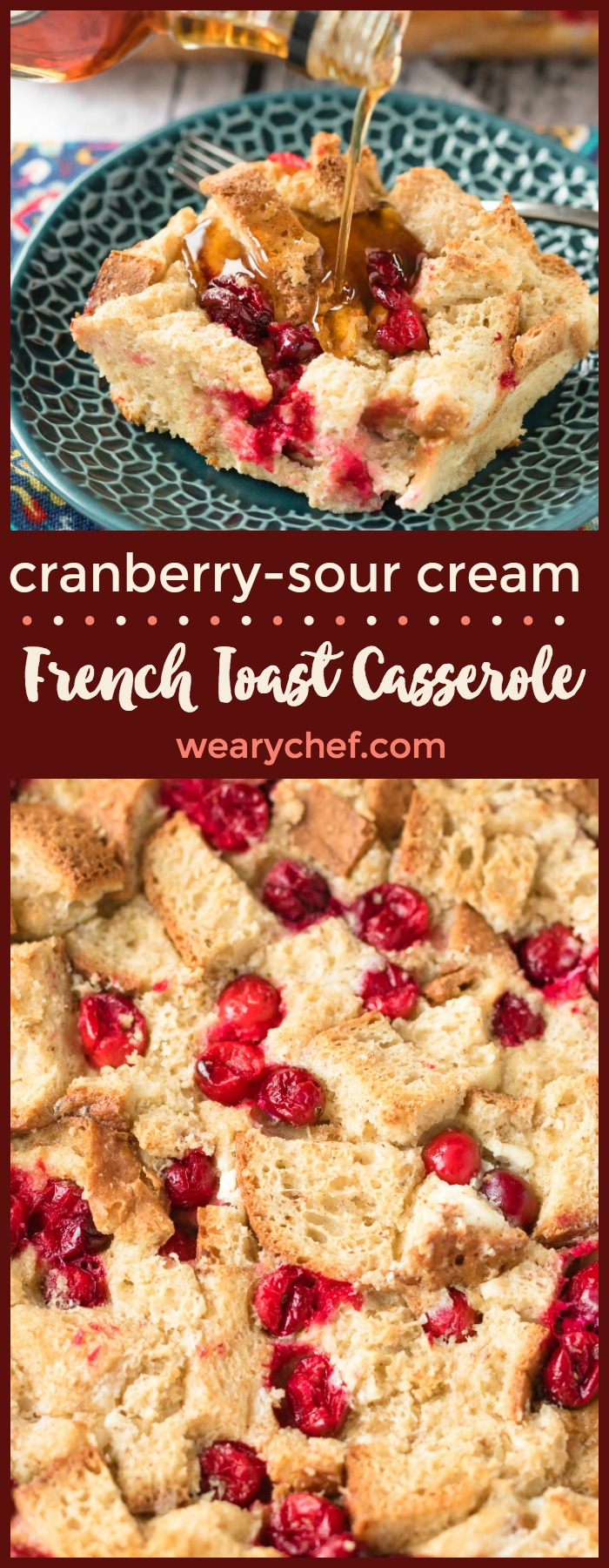 Your weekend and holiday mornings just got even better thanks to this Sour Cream Cranberry French Toast Casserole! You can also try this breakfast recipe with blueberries, strawberries, or other fruits!