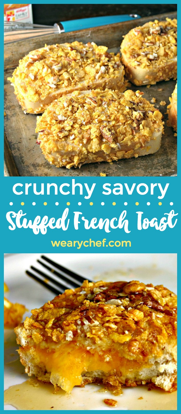 You've never seen anything like this crunchy french toast recipe stuffed with cheese and coated with crunchy pecans and corn flakes!
