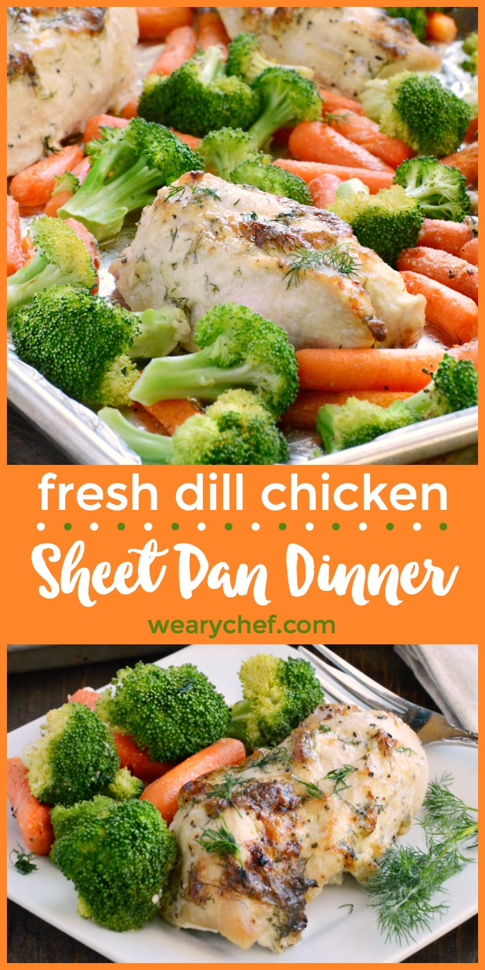 This aromatic Dill Chicken Sheet Pan Dinner with fresh carrots and broccoli is a quick and easy meal that your family will love!