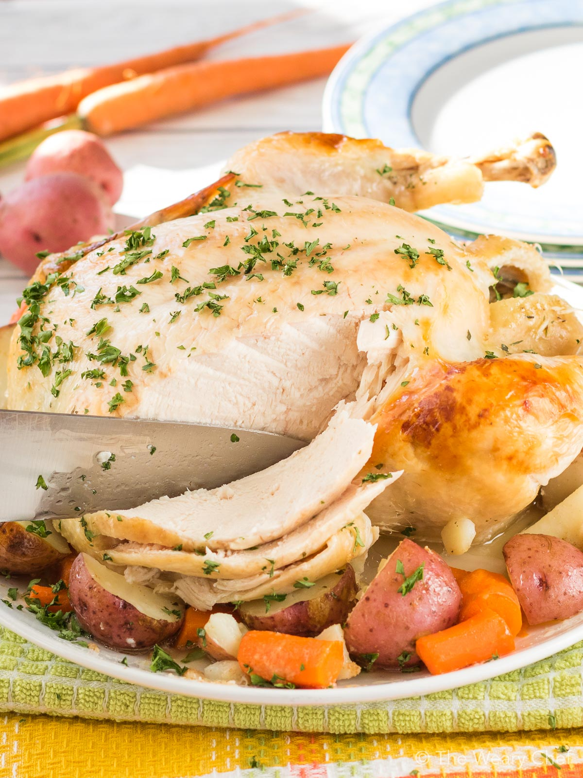 This tender and juicy dutch oven roast chicken is seasoned with Ranch flavor and turns out perfectly every time!