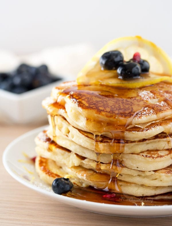 Lemon Ricotta Pancakes by The Chunky Chef
