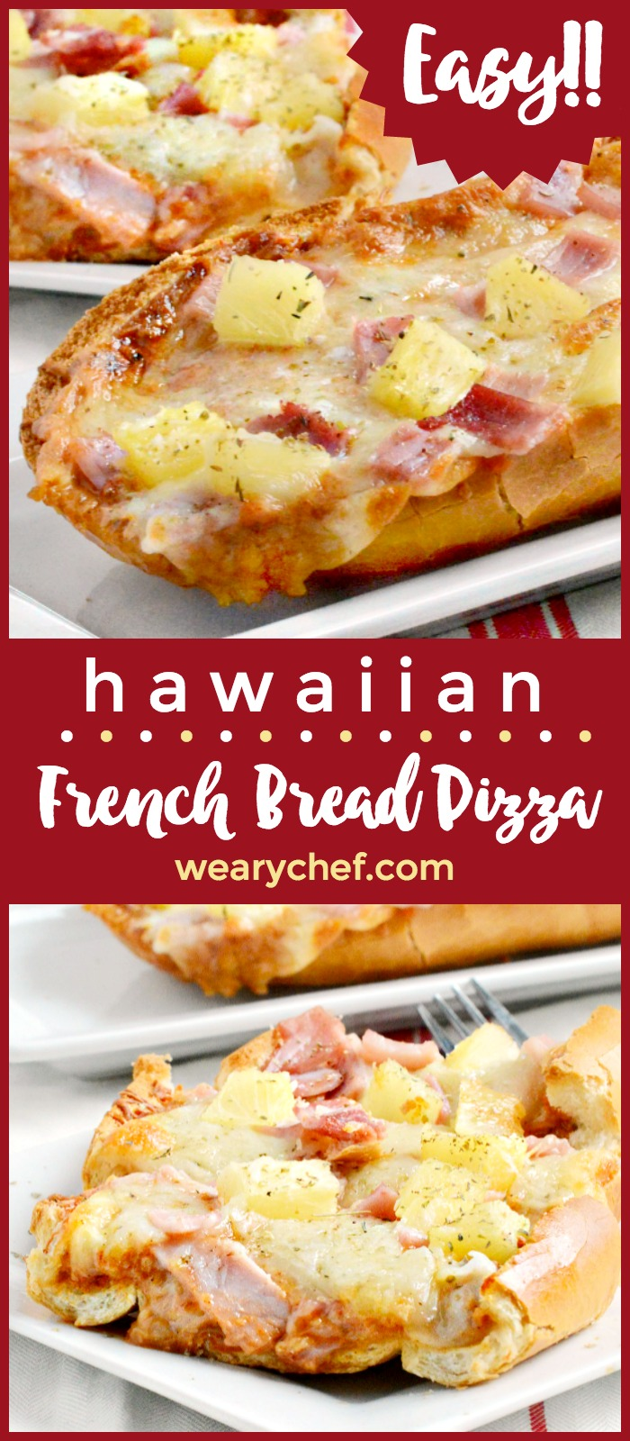 Hawaiian French Bread Pizza is super quick and easy, with the perfect balance of sweet, salty, and a little spicy. Your family will love it!