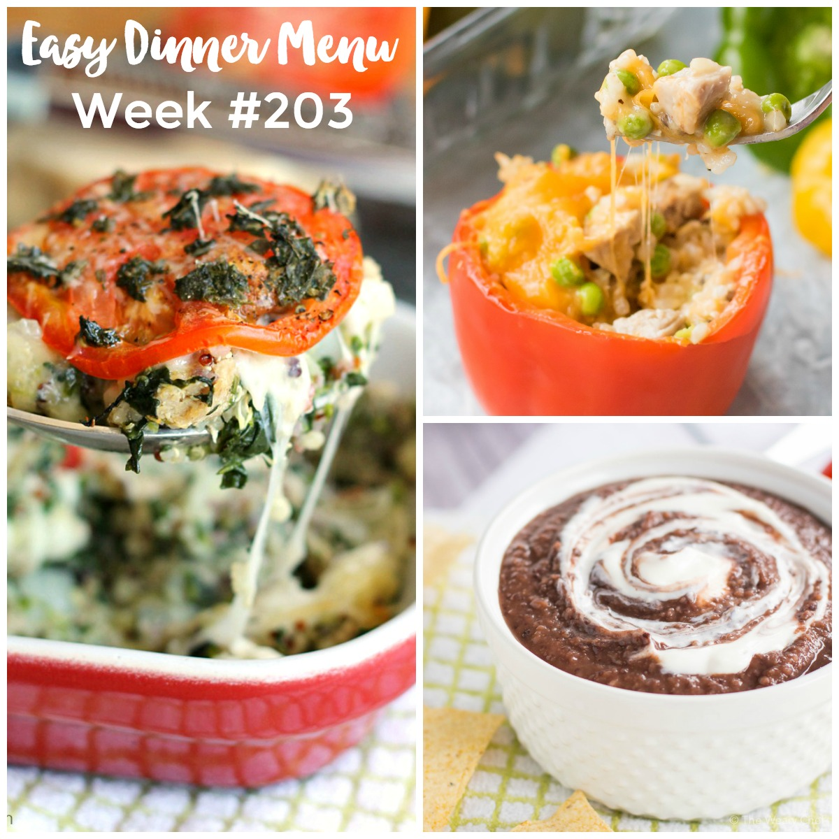 The Weary Chef's Easy Weekly Dinner Menu #203 - This week's dinner menu features Caprese Quinoa Casserole, Easy Stuffed Peppers, Blender Black Bean Soup, and lots more!!