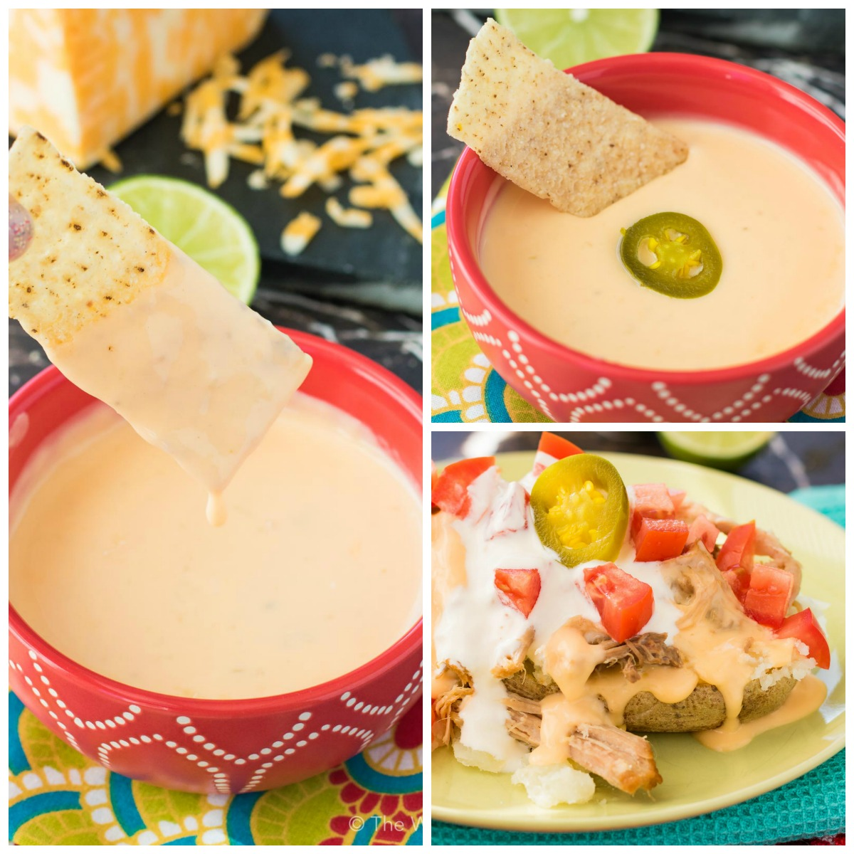 Try this microwave queso dip on its own or drizzled over carnitas loaded backed potatoes!