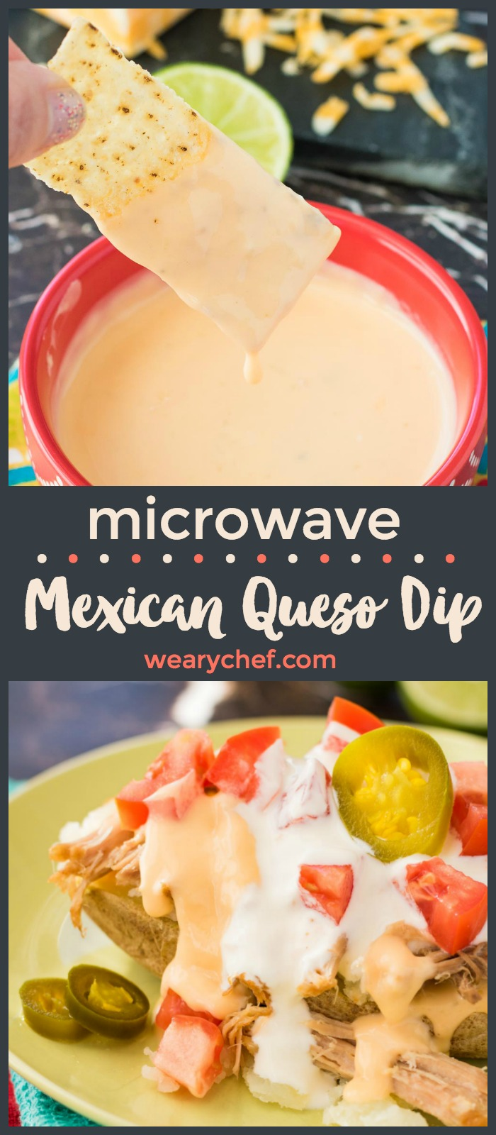 Microwave Mexican Queso Dip is easy to make and PERFECT drizzled over carnitas loaded baked potatoes!