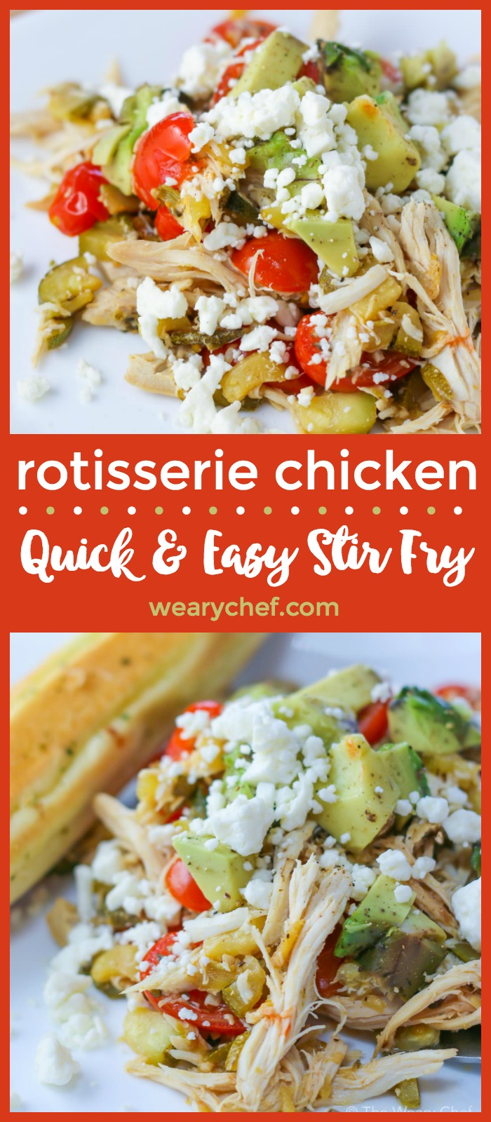 This quick and easy rotisserie chicken stir fry is loaded with fresh vegetables and topped with feta cheese. Serve it on its own or over couscous, rice, or pasta for a very satisfying dinner!