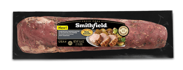 Smithfield Hardwood Smoked Bacon and Cracked Black Pepper Tenderloin is amazing on its own or in recipes!