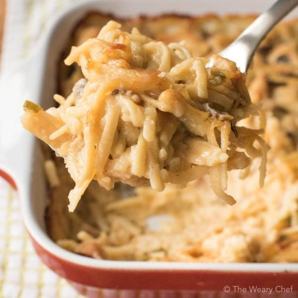This Baked Chicken Tetrazzini is classic comfort food at its best. This recipe is sure to be a family favorite dinner at your house!