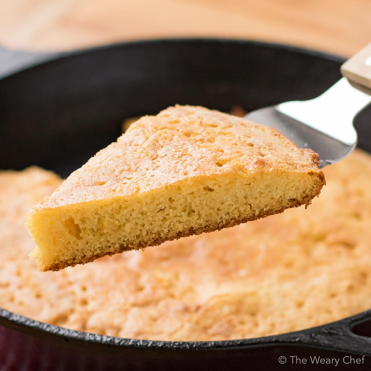Perfect Southern Cornbread is savory, not sweet. You'll love this easy recipe that bakes up easy in about 20 minutes!