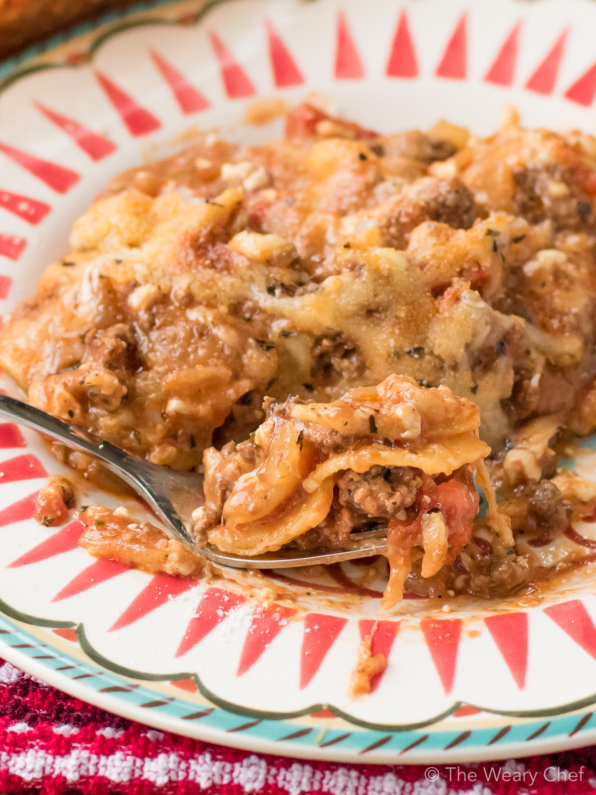 You can get this lazy lasagna in the oven in about 20 minutes! This hearty recipe is perfect for family dinners, potlucks, or a make ahead meal.