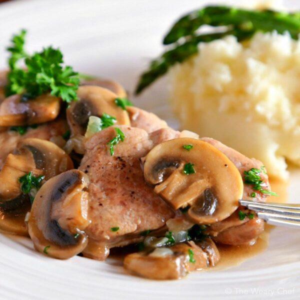 Easy Pork Marsala is easy to make with sliced pork tenderloin, mushrooms, cooking wine, and a few other common ingredients. You can get it on the table in about a half hour on a busy night, or it's fancy enough to serve to guests!