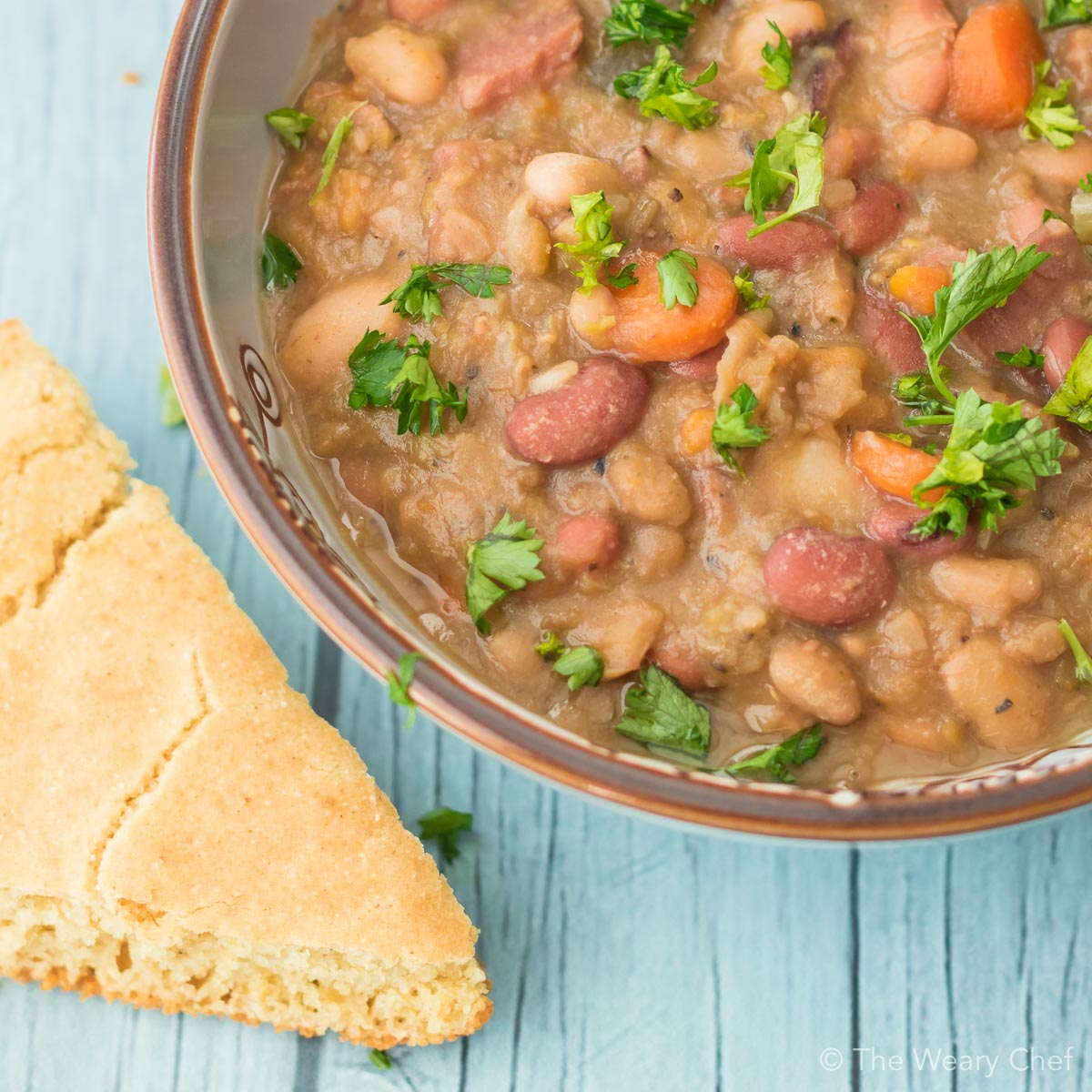 This country style 15 bean soup with ham is a down home favorite dinner that you will love!