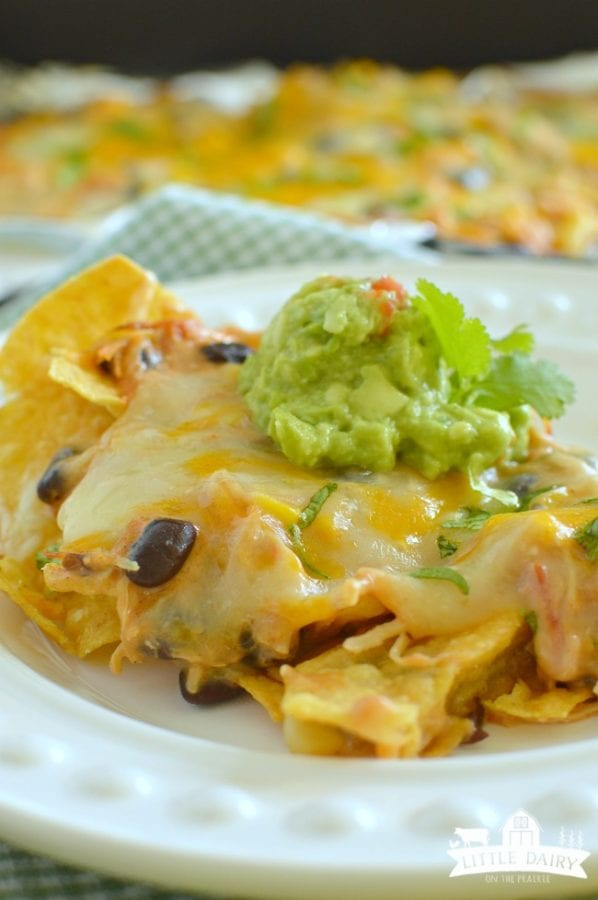 Slow Cooker Creamy Chicken Nachos by Little Dairy on the Prairie