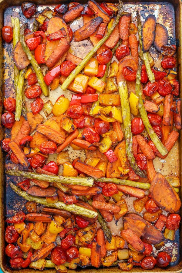 You are going to love these balsamic roasted vegetables. Include sweet potatoes, carrots, asparagus and any other favorites in a bright, flavorful dressing, then bake!