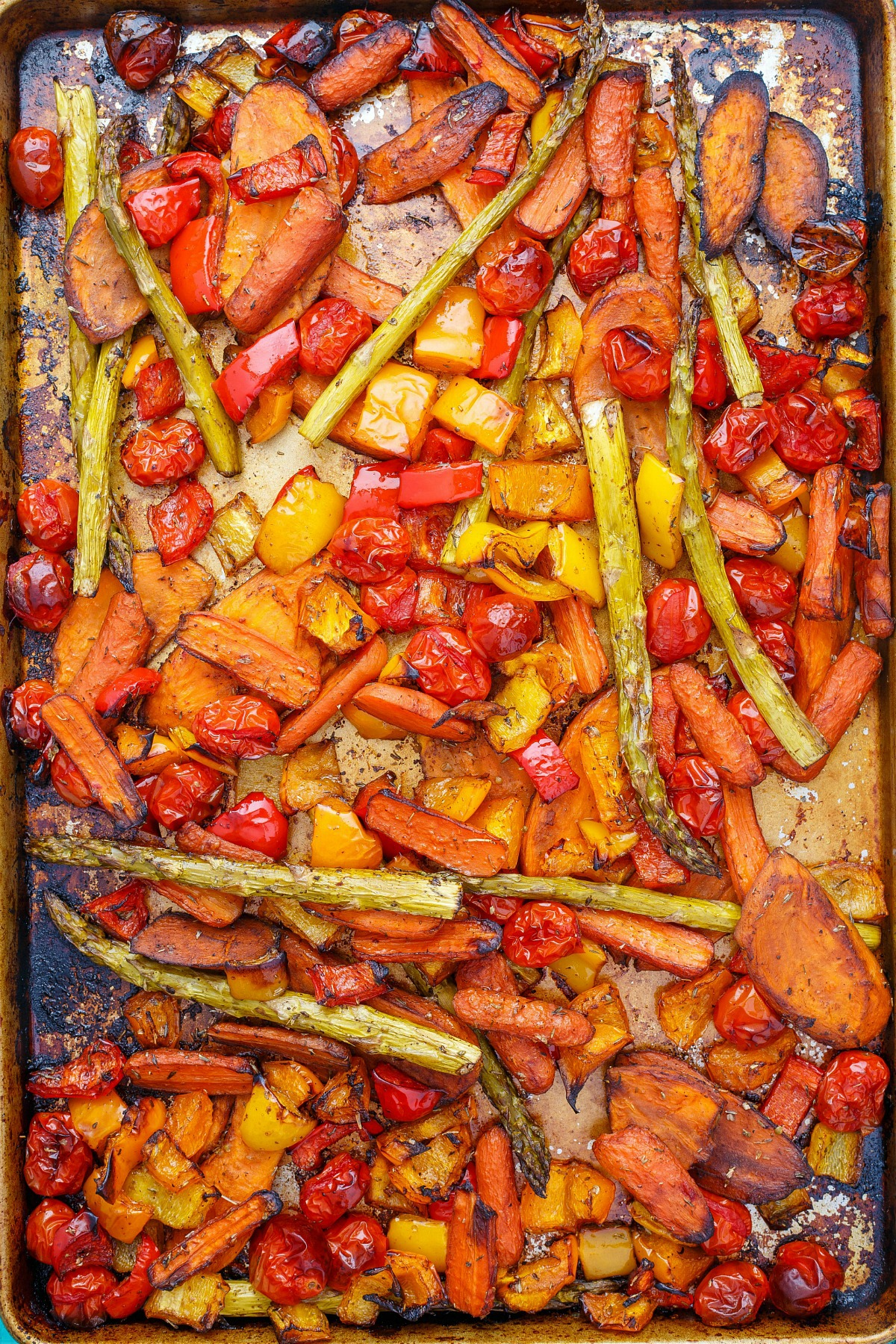 You are going to love these balsamic roasted vegetables. Toss your favorites like sweet potatoes, carrots, and asparagus in a bright, flavorful dressing, then bake!