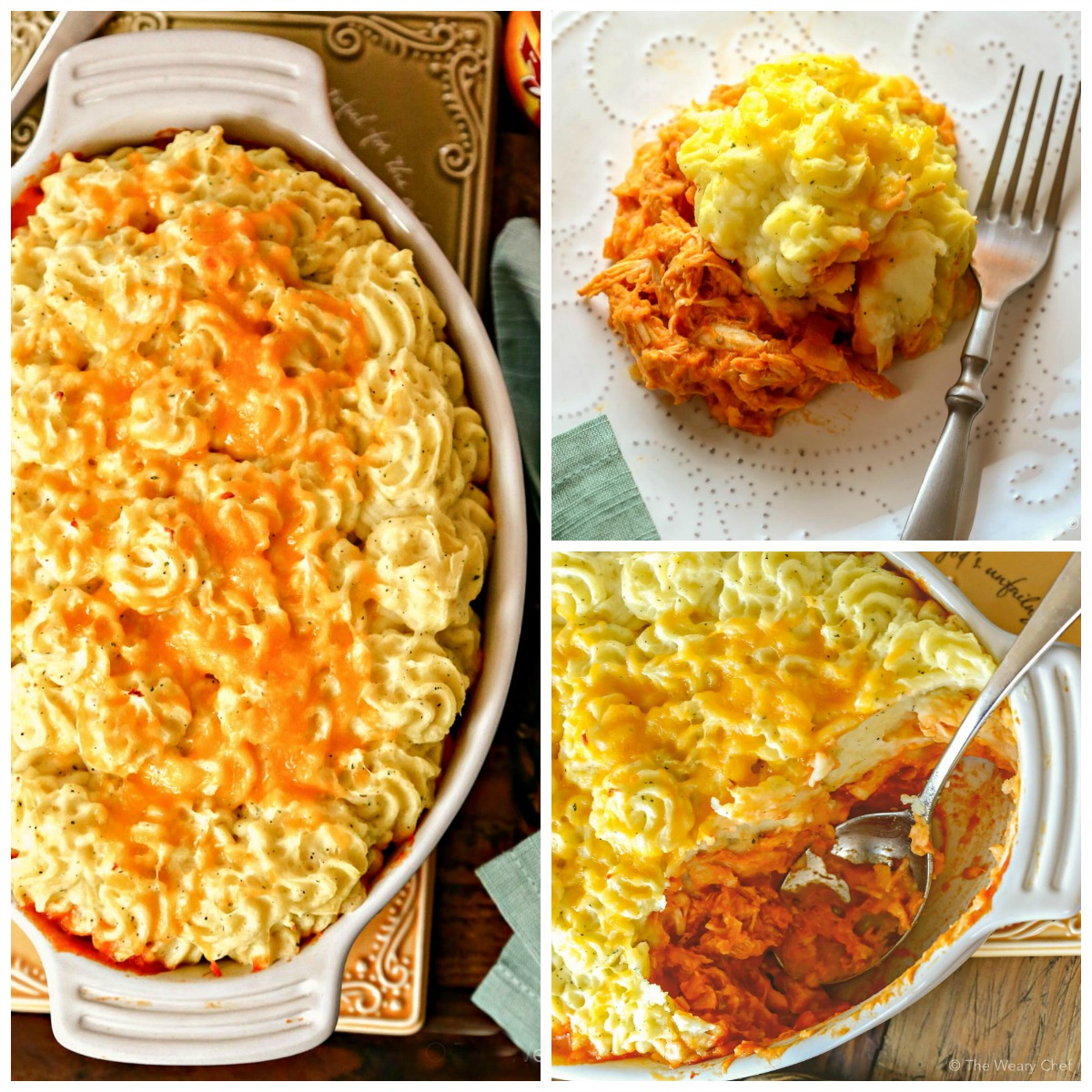 Classic Buffalo Chicken Dip is reinvented into a comforting family dinner—Buffalo Chicken Shepherd's Pie with Ranch Mashed Potatoes!