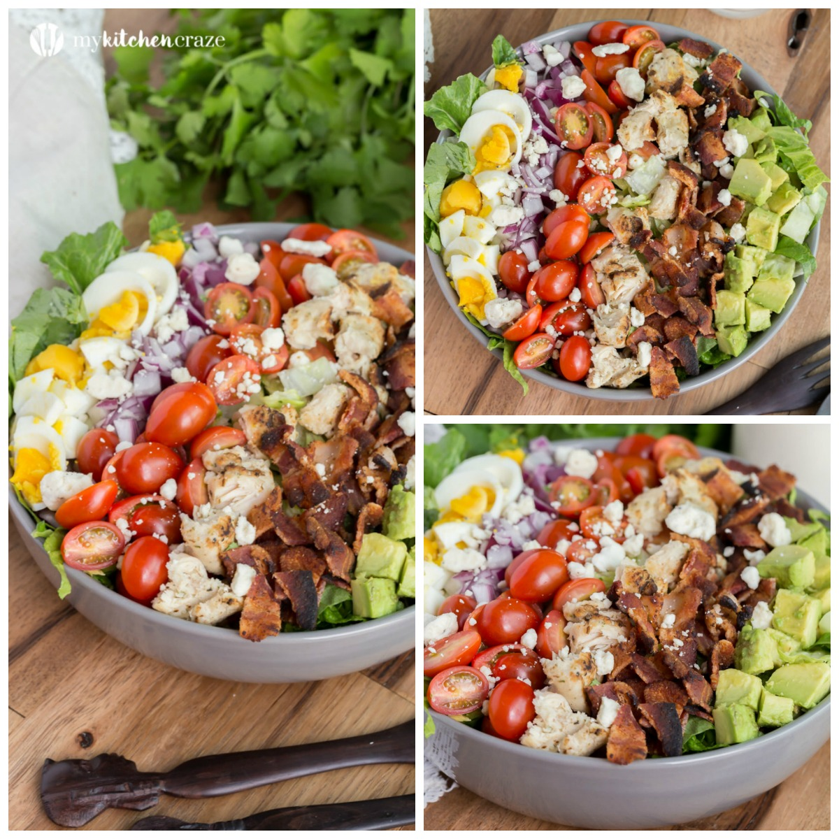 Favorite Chicken Cobb Salad ~ Crunchy veggies topped with blue cheese crumbles and your favorite dressing. You'll actually look forward to having salad for dinner!