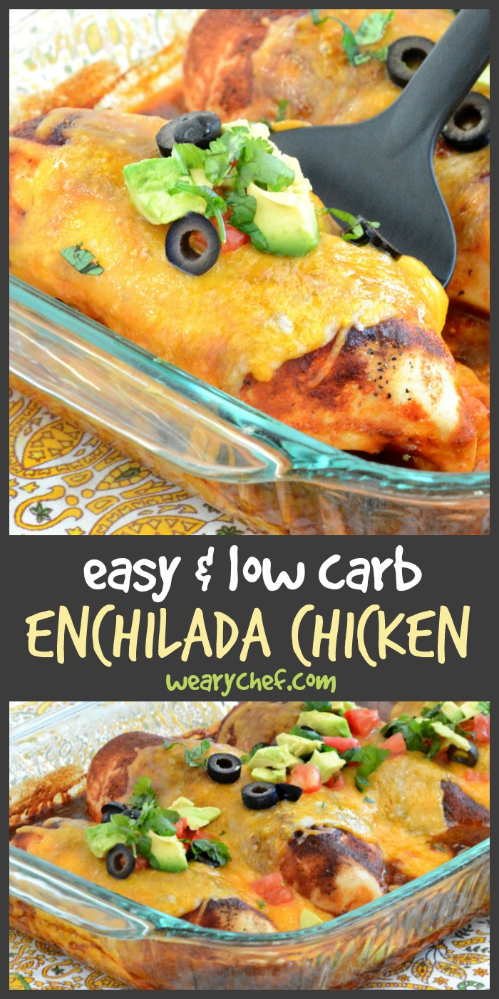 Enjoy the flavor of enchiladas the easy and low carb way with this simple Chicken Enchilada Bake recipe!